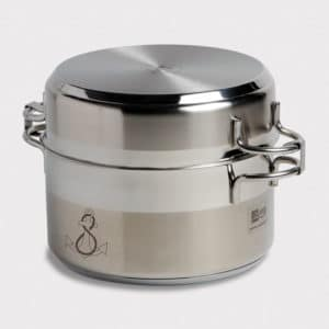 COOKING POTS STAINLESS STEEL SET: 4 COOKWARE + LIDS MB